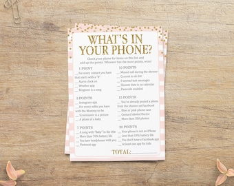 Whats In Your Phone, BABY Shower Game, What's On Your Cell Phone, Girl Baby Shower, Blush Pink Gold, Printable Party, GP Instant Download