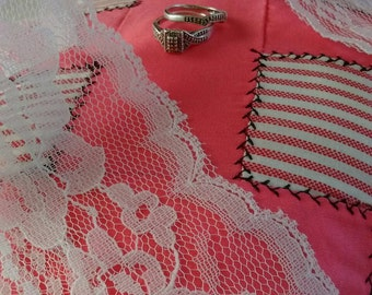 Upcycled Pillow Pink And White With Black Stitching, Kings Cross