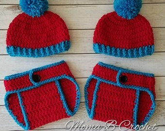 Crochet Thing 1 and Thing 2 Baby Sets, Dr Seuss Baby Sets, Thing 1 and Thing 2 Baby Sets, Thing 1 and Thing 2 Twin Set, Twins Baby Sets