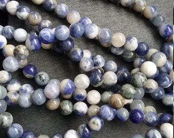 Full Strand of 6mm Natural Sodalite Gemstone Beads