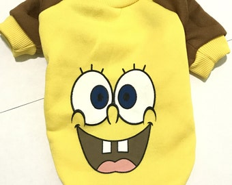 Dog Clothes - Sponge Bob Design Dog Sweater, High Quality Soft Cotton Pet Clothes