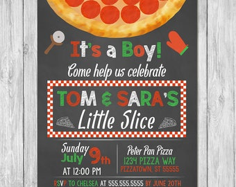 Pizza Party Baby Shower Invitation - Baby Shower Invite - Couples Baby Shower - Pizza Baby Shower - Couples Pizza Baby Shower - Chalkboard
