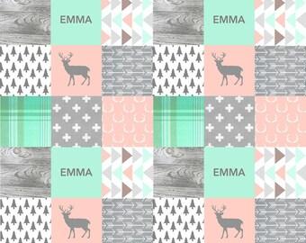 PERSONALIZED baby minky blanket, girly lumberjack blanket, mint blush blanket deer woodland blanket rustic outback blanket, baby shower gift