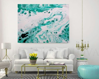 52 inch, White and Turquoise, Coastal Wall Art, Decor, Abstract Fluid Painting, Print, Aqua Painting, Julia Apostolova, ''Maldivian Dream''
