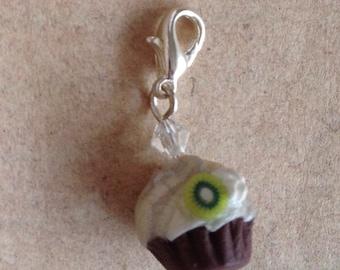 Cupcake white with kiwi, charm, necklace pendant