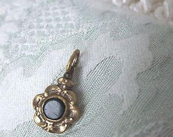 Antique Gold Metal/Pinchbeck Watch Fob/Charm with a bloodstone and carnelian