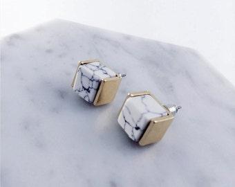 Cube marble earrings; white marble earrings; howlite stone;