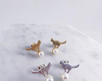 Cat on pearl ball; standing cat; pearl earrings; cat lovers; cat earrings