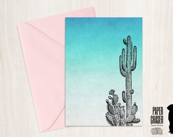 Blank Cactus Card • Instant Download, Digital Download, Printable Cactus Card, Blank Card, No Occasion, DIY Card, JPG, PDF, Cactus