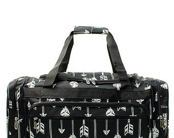Embroidered Black Arrow Duffel-Monogram Duffel-Personalized Overnight Bag-Embroidered Duffel-Monogram Overnight Bag