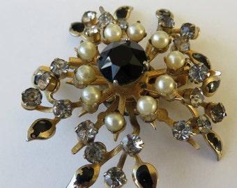 Vintage Coro Brooch Vintage Costume Jewelry Faux Pearl Rhinesone Brooch