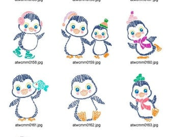 Penguin-Swing-Style ( 10 Machine Embroidery Designs from ATW )