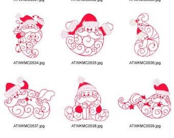 Santas-Beard-Redwork ( 10 Machine Embroidery Designs from ATW ) XYZ17C