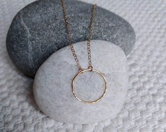 Gold Circle Necklace/ Hammered Circle Necklace/ Choker Necklace/ Gold Choker/ Circular Choker Necklace