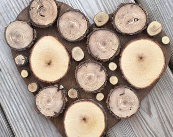 Wood Slice Art - Wood Slice Heart - Wood Slice Decor - Rustic Decor