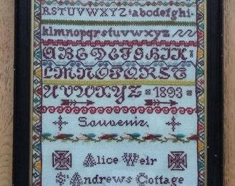 Antique ABC Sampler Framed Needlework Souvenir St Andrew's Cottage 1893