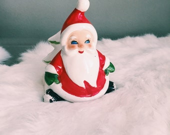 Vintage Lefton Santa Claus Napkin Holder / Christmas Card Holder