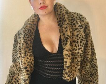 Vintage Leopard Faux Fur Jacket