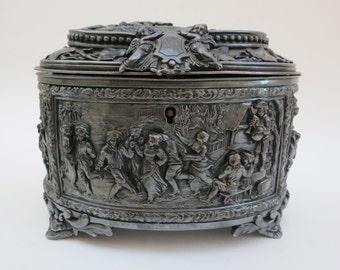 Antique-French-A.B. Paris-Jewlery Box Casket-Silver Plate-Cherubs Rural Scenes-Ornate High Relief