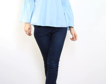 Poplin blouse Bare shoulders