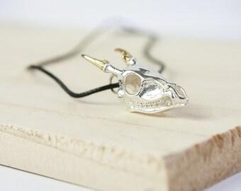 Katherine Skull Pendant, Sterling Silver, Muntjac Skull, Deer Skull, Skull Necklace, Animal Skull, Skull Jewelry, Silver Skull, Personalised