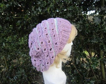 Purple slouchy hat (Leonora). Slouchie. Cotton. Knit. Lacy hat. Snood. Beret. Available MADE TO ORDER in other colours.