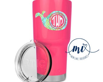Lilly Pulitzer Whale Monogram Decal / Custom Color, Size / Yeti, Tumbler / Gift Under 10, Accessories / Nautical, Beach / DECAL ONLY