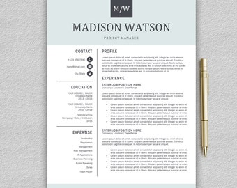 Professional Resume Template / CV Template For Word + Cover Letter | Modern  Resume Template |