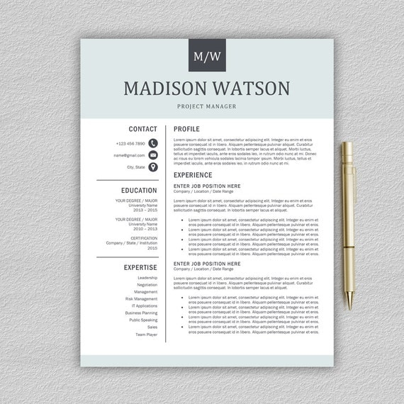 professional resume template    cv template for word cover