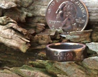 Kansas state quarter coin ring