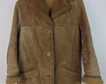 Vintage Brown Suede/Faux Fur Coat