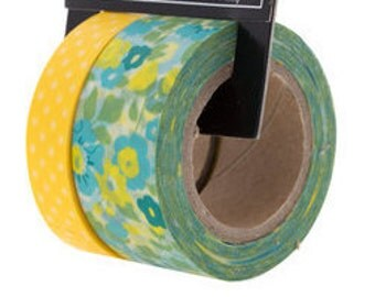 Yellow & Blue Floral Washi Tape Perfect for Scrapbooks, Cards, Gift Packaging, Labels, Calendars, and so much more.