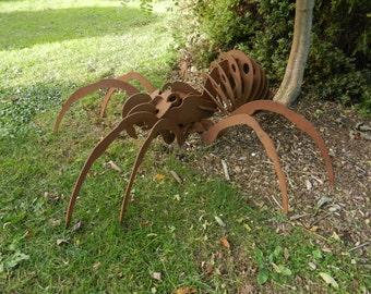 Giant 3D Spider Over 3ft / 3D Metal Spider / Spider gift / Garden Sculpture / Garden Decor / Rusty Metal Spider / Spider Metal Art / Rusty