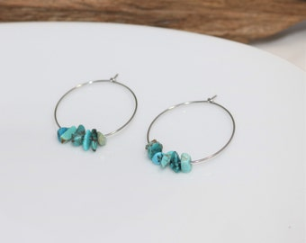 Turquoise Silver Hoop Earrings, Boho Earrings, Gift for Her, Western Style Jewelry, Healing Stone, Gift for Girlfriend, Mom Birthday Gift