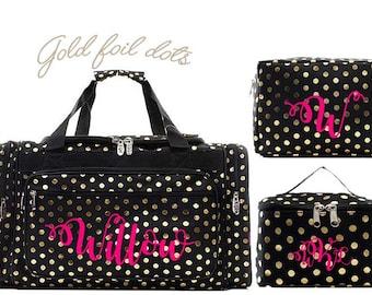 Black and Gold polka dot duffel bag, Monogrammed duffel bag,monogrammed luggage Bridal, travel duffle, personalized duffle, monogram duffle