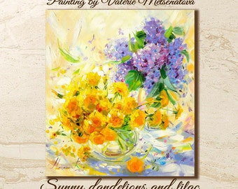 Dandelions, Lilac, Bright painting, Original painting, Yellow Dandelions, Yellor color, Flowers, Sunny, Gift, Oil on canvas, Spring, Best