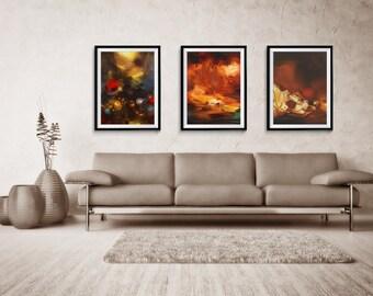 Abstract Print Set of three, Abstract, Giclee Print, Brown Abstract, Large Abstract Print, home decor, wall print, ZDQ41247