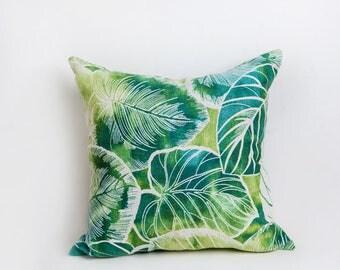 Green Leaf Outdoor Pillow, Green, Outdoor Pillow, Leaf Pillow, Pillow, Teal, Yellow, Leaf Decor, Tropical,
