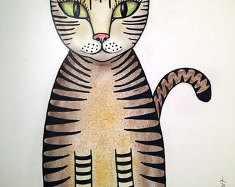 Drawing tabby (cat) with green eyes - download - made by Gabriela Brakenhoff