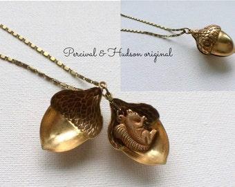 Large Acorn Necklace, Squirrel Necklace, Acorn Locket, Squirrel Locket, Winter Necklace, Fall Necklace, Secret Necklace, Long Acorn Necklace