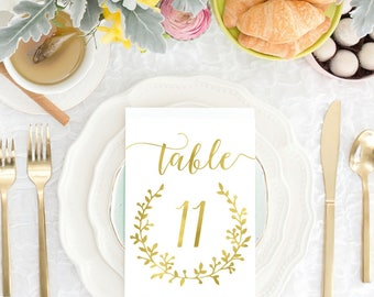 DIY PRINTABLE 4x6 Gold Wedding Table Numbers | Instant Download | Wedding Ceremony Reception Table Numbers| Gold Foil Calligraphy | WS1