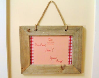 Handmade Moonrise Kingdom Sam and Suzy Letter Reproductions - Mounted Calligraphy on Gingham and Hessian in a 18x13cm (7x5in) Wooden Frame