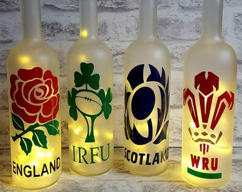 Rugby Six Nations Inspired Bottle Lamps (England, Ireland, Scotland & Wales)