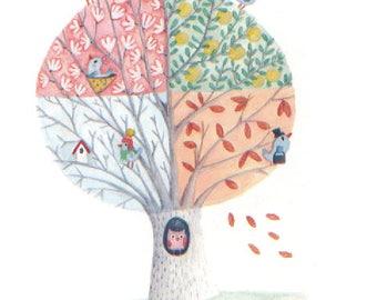 Illustration-Aquarelle-tirage d'art-affiche-décoration chambre d'enfants-arbre des saisons-oiseaux-printemps-été-automne-hiver-feuilles