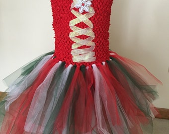 Girls Christmas Holiday Red/White/Green Party Tulle Tutu Dress/Costume/Play with Removable Snow Flake Clip