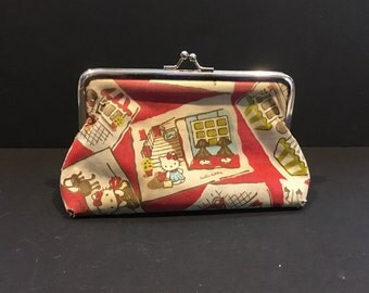 Vintage Hello Kitty Coin Purse , Bag , Kiss Lock Closure , Red Fabric , Metal , Shopping , Travel , Storage , Organization , Pouch