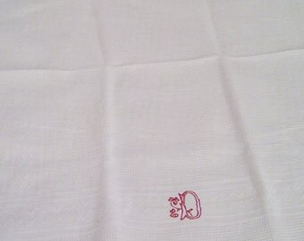Vintage French guest towel, patterned cotton waffle fabric with hand embroidered 'D'. Tray cloth or dressing table cloth.