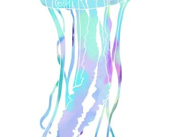 Jellyfish Watercolor Print
