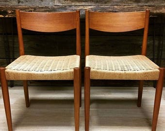 SET OF TWO Frem Rojle Danish Modern Chairs