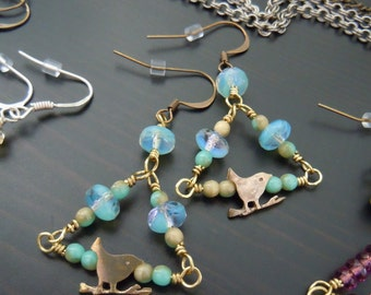 Triangle, Czech, blue glass earrings turquoise, blue Pacific and Bali brass birds - Bohemian chic - made in France